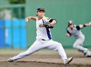 福井-阪神 7回を3安打に抑えた福井先発の藤岡雅俊=29日、福井フェニックススタジアム