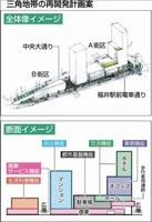 JR福井駅西口の中央大通りと福井駅前電車通りに挟まれた三角地帯の再開発計画案