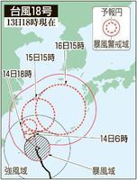 台風18号の予想進路(13日18時現在)