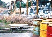笏谷石の採掘場で使われていた トロッコ。