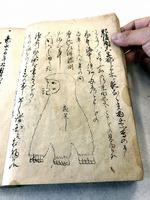 金森左京家の「雑書留」のアマビコの挿絵。「あま彦」の表記で記述がある=福井県の越前市武生公会堂記念館