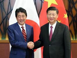 会談を前に、笑顔で握手する中国の習近平国家主席(右)と安倍首相=11日、ベトナム・ダナン(代表撮影・共同)
