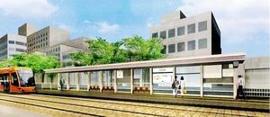 福井鉄道の新しい市役所前停留場のイメージ