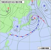 6月16日午後9時の予想天気図(気象庁ホームページより)