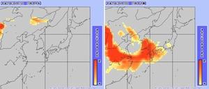 左図は15日午後9時の黄砂分布図。ゴビ砂漠の方面(画像左)に、18日ごろ日本に飛来すると予測されている黄砂がある。右図は18日午後9時の黄砂予測図。西日本への飛来が予測されている=いずれも気象庁ホームページより