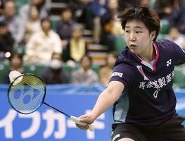 女子シングルス準々決勝で勝利した山口茜=11月29日、東京・駒沢体育館