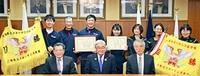 全日本エスキーテニス 男女Vメンバー 市長に喜び語る