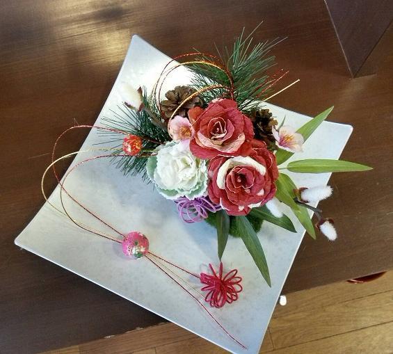 和紙の花とアレンジメント  朝クラス(月曜)