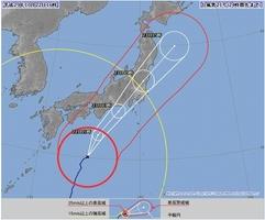 台風21号の経路予報図(22日午後4時現在)気象庁HPより