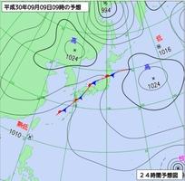 9月9日午前9時の予想天気図(気象庁HPより)