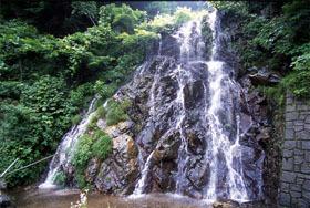 国道158号沿いの水量豊富な滝。ドライブ途中に一休みしたい