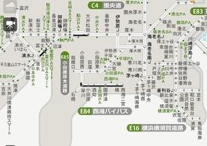 東名高速道路の通行止め区間=10月11日午前10時現在(NEXCO中日本ホームページから)