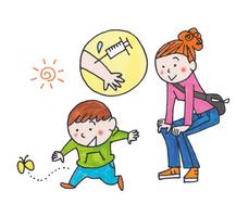 とても大事、赤ちゃんの予防接種(イラスト・小林孝文)