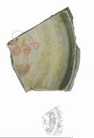 ネコとされる生き物の足跡が付いた須恵器=福井県美浜町歴史文化館