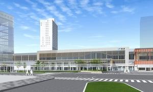 検討会が推薦する一乗谷朝倉氏遺跡や大本山永平寺の唐門をモチーフにした駅舎デザイン案
