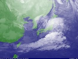 22日午後5時20分の雲画像(気象庁HPより)