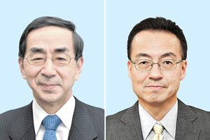 今春の福井県知事選への出馬を表明している前副知事の杉本達治氏(右)と、現職の西川一誠氏(左)