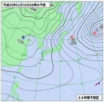 1月16日午前9時の予想天気図