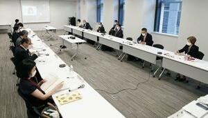 性犯罪や性暴力を巡り、内閣府が開いた有識者らによる検討会=30日午前、東京都千代田区