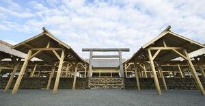皇位継承の重要祭祀「大嘗祭」の舞台となった大嘗宮=11月21日午前、皇居・東御苑