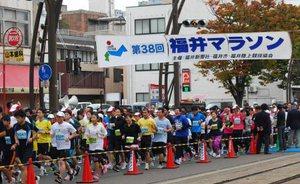 第38回福井マラソンで元気にスタートを切ったランナーたち=11日、福井市順化1丁目のフェニックス通り