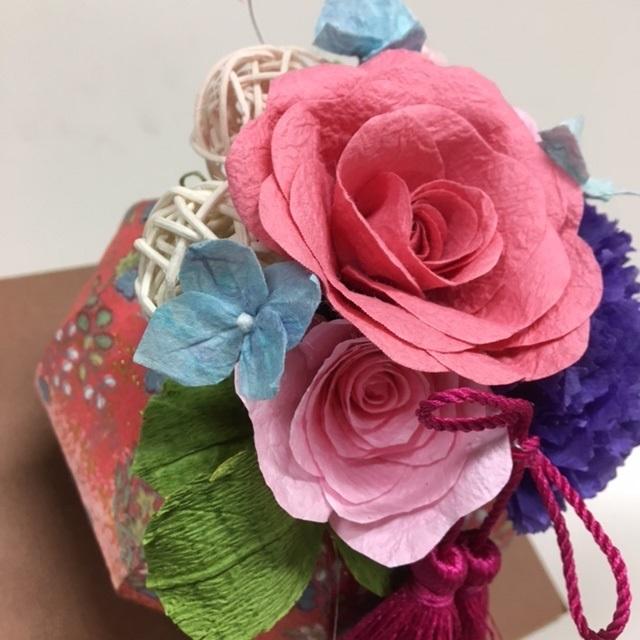 和紙の花とアレンジメント 夜クラス