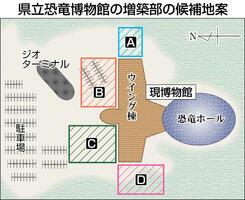 福井県立恐竜博物館の増築部の候補地案