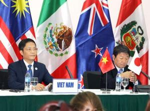 TPP閣僚会合について記者会見する茂木経済再生相(右)とベトナムのアイン商工相=11日、ベトナム・ダナン(共同)