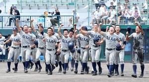 3年ぶりに夏の甲子園出場を決め、喜ぶ敦賀気比ナイン=7月25日、福井県営球場