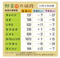 野菜のお値段 11月4日の週