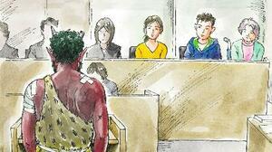 日弁連が作成したアニメ動画の一場面。鬼が被告として裁判員裁判の法廷に立ち、潔白を訴える(日弁連提供)