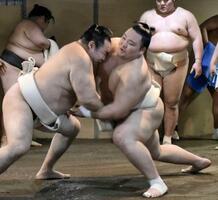 時津風部屋への出稽古で、鶴竜(左)の攻めを受ける朝乃山=大阪市東成区