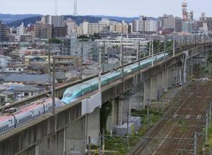 停電で停止した東北新幹線はやぶさ・こまち21号=2018年6月、仙台市宮城野区