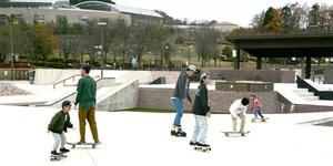 2019年春にオープンしたスケートパーク。県内外から多くの愛好家が訪れている=福井県福井市のふくい健康の森