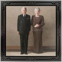 完成した天皇、皇后両陛下の肖像画(宮内庁提供)