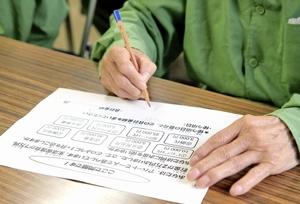 福井刑務所が試行している再犯防止に向けた指導で、生活保護費の使い道を考える高齢受刑者=10月6日、福井市