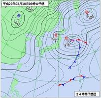 2月10日午前9時の予想天気図(気象庁)
