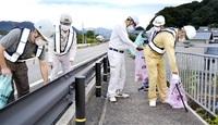 【奉仕】鯖江建設業会が道路清掃