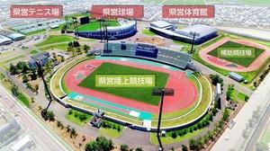 福井国体のメイン会場となる福井市の福井運動公園=8月9日、福井市福町上空から日本空撮・小型無人機ドローンで撮影