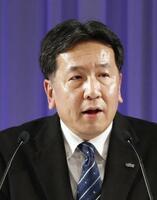 立憲民主党の党大会で演説する枝野幸男代表=2月