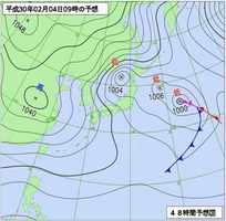 2月4日午前9時の予想天気図(気象庁HPより)
