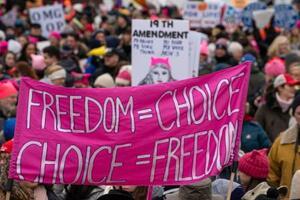 ワシントンでの「女性行進」(UPI=共同)