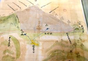 場所の特定につながった近世の絵図。右端に「荒神岩(石)」と記されている