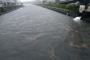 増水した長崎市の浦上川=7月6日午後4時38分