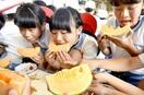 鯖江の特産メロン、児童ら試食
