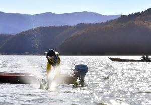 青竹で湖面をたたき、魚を追い込む漁師たち=12月1日、福井県若狭町の三方湖