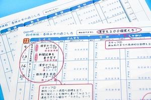 福井新聞が小学生と中高生向けに作成した学習計画表(手前は記入例)