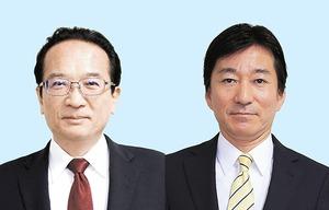 敦賀市長選挙に立候補した(左から)渕上隆信氏と米澤光治氏