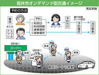 坂井市・「オンデマンド交通」実験へ 利用低迷効率化を検討 コミュニティーバスの枝線代替 高齢者層見込む 利便性も課題 フォローアップ