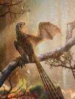 中国で化石が見つかった飛膜を持つ恐竜の想像図(研究チーム提供)